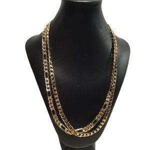 14K Yellow GP Cuban Link & Fígaro Chain Necklaces